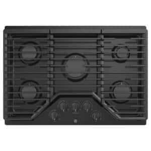 30 in. Gas Cooktop in Black with 5-Burners including Power Burners