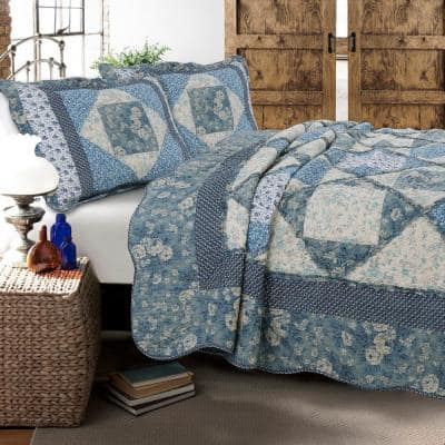 Floral Rose Garden 3-Piece Blue Vintage Cottage Patchwork Queen Quilt Bedding Set