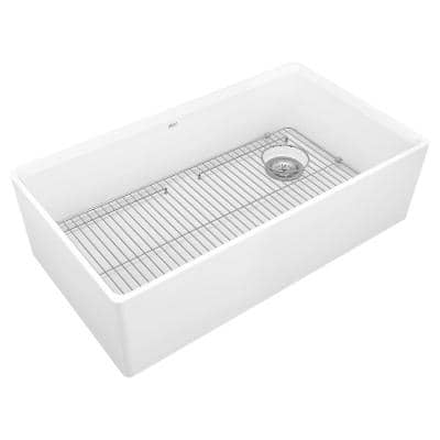 Avery Dual Mount Apron-Front Fireclay 36 in. Single Bowl Kitchen Sink in Alabaster White