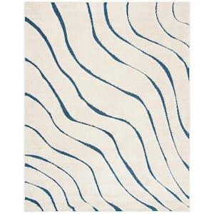 Florida Shag Cream/Blue 8 ft. x 10 ft. Striped Solid Area Rug