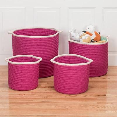 Sonoma 14 in. x 14 in. x 12 in. Magenta Round Polypropylene Braided Basket