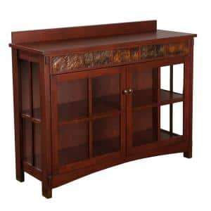 Senna Mission Sideboard and Display Curio with Faux Slate