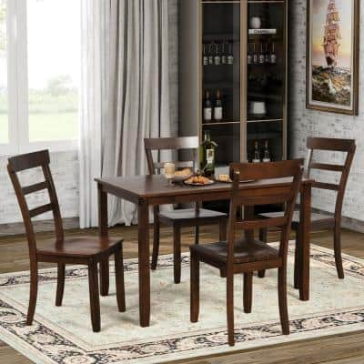 5-Piece Brown Solid Wood Dining Set