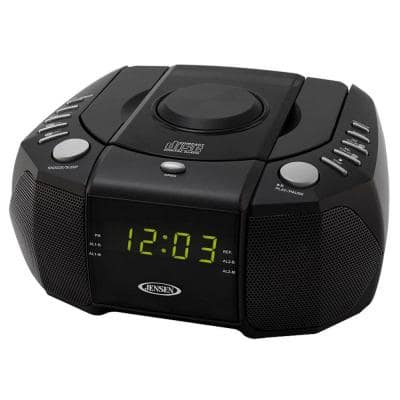 AM/FM Stereo Dual Alarm Clock Radio with Top Loading CD Player, Digital Tuner and Aux Input