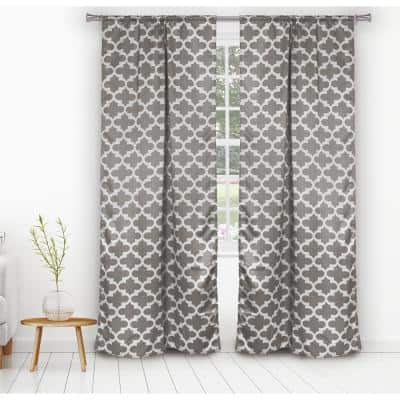 Grey Trellis Thermal Blackout Curtain - 38 in. W x 84 in. L (Set of 2)