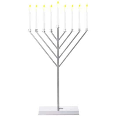 3 ft. Large Metal Silver Coated Hanukkah Menorah for Synagogue