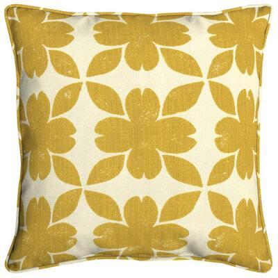 Sunbrella Floret Honey Square Outdoor Throw Pillow (2-Pack)