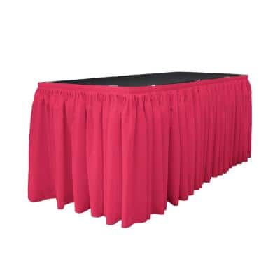 14 ft. x 29 in. Long Fuchsia Polyester Poplin Table Skirt with 10 L-Clips