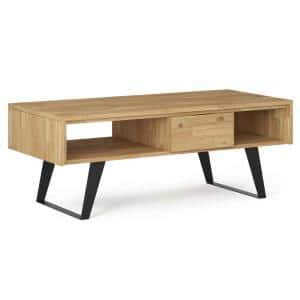 Lowry 48 in. W Distressed Golden Wheat Coffee Table