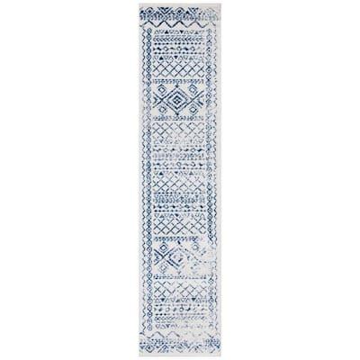 Tulum Ivory/Navy 2 ft. x 9 ft. Border Runner Rug