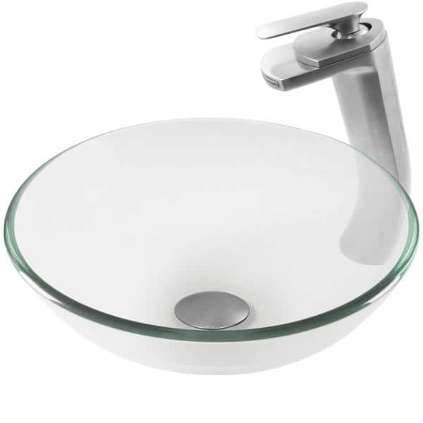 Novatto Glass Vessel Sink In Clear With Sealer Drain Mounting Ring And Faucet In Brushed Nickel Nsfc 8048057bn The Home Depot