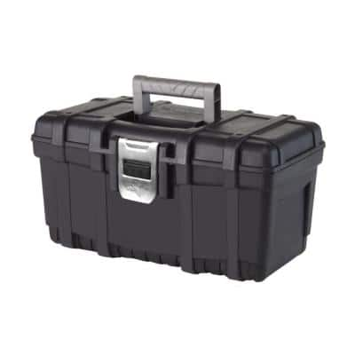 16 in. Plastic Portable Tool Box with Metal Latch (1.6 mm) in Black
