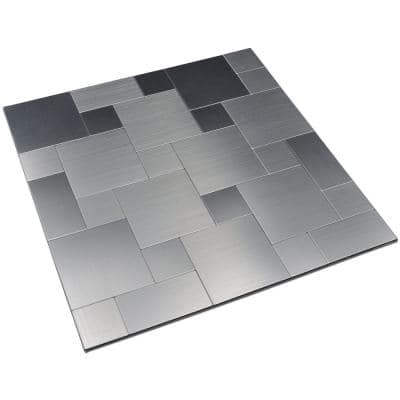 Square Brushed Silver 12 in. x 12 in. Metal Peel and Stick Backsplash Tile (9.7 sq. ft. / pack)