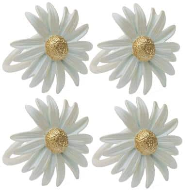Off White Daisy Spring Flower Painted Metal Napkin Rings (Set of 4)