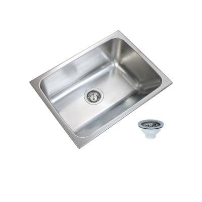 24 in. x 18 in. Single Bowl Stainless Steel Laundry Sink with Washboard