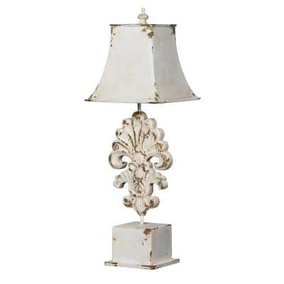Vintage 28.7 in. Distressed White Wash Table Lamp