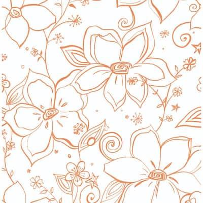 Linework Floral Orange Vinyl Peelable Roll (Covers 30.75 sq. ft.)