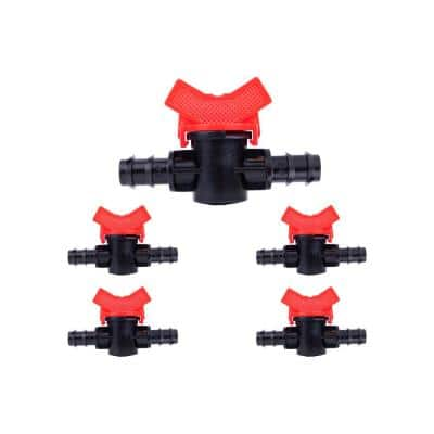 1/2 in. Plastic Barbed Shut-off Ball Connectors Irrigation Fitting (5-pack)