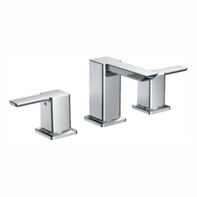 90 Degree 8 in. Widespread 2-Handle Mid-Arc Bathroom Faucet Trim Kit in Chrome (Valve Not Included)