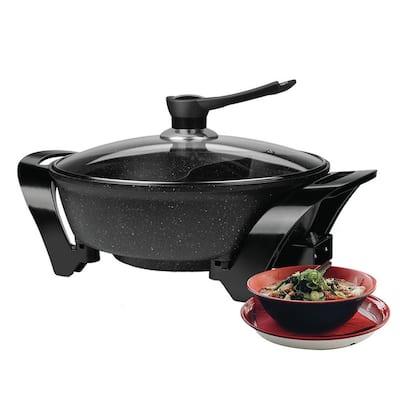 6 Qt. Black Electric Shabu Shabu Pot with Divider
