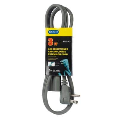 3 ft. 14/3 SPT-3 Wire Air Conditioner/Major Appliance Extension Cord with Right U-Ground Plug in Gray