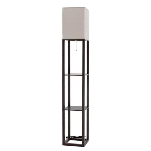 62 5 In Brown Shelf Floor Lamp Flw068, Floor Lamp With Shelves Ikea