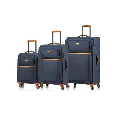 CHAMPS Classic II 28 in.,24 in., 20 in. Navy Softside Luggage Set with Spinner Wheels (3-Piece)