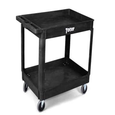 550 lbs. Capacity 44 in. x 25.3 in. x 32.3 in. Black Plastic 2-Tier 4-Wheeled Lipped Top Straight Handle Utility Cart