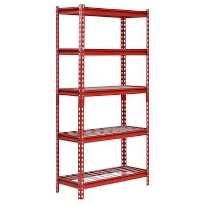 Red 5-Tier Boltless Steel Garage Storage Shelving (30 in. W x 60 in. H x 12 in. D)