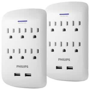 6-Outlet 900J Surge Protector with 2 USB Ports Wall Adapter Tap, White (2-Pack)