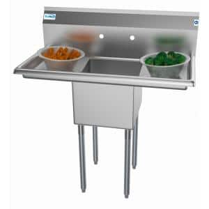 38 in. Freestanding Stainless Steel 1 Compartment Commercial Sink with Drainboard