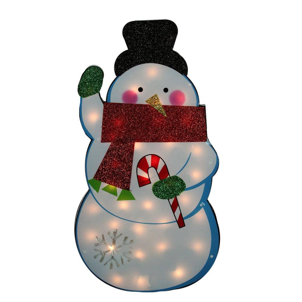 Impact 30 In Christmas Standing Tinsel Snowman Lighted Outdoor Decoration With Clear Lights 31728968 The Home Depot
