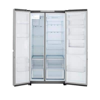 27 cu. ft. Side by Side Refrigerator with Door in Door with Auto Ice Maker in Platinum Silver