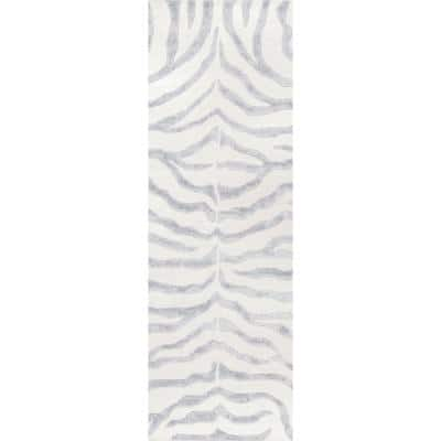 Zebra Stripes Gray 2 ft. 6 in. x 6 ft. Indoor Runner Rug