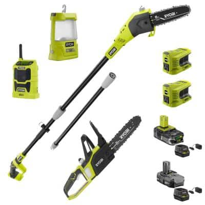 ONE+ 18V 8 in. Cordless Battery Pole Saw, Chainsaw, Inverter, Radio and Area Light with (2) Batteries and (2) Chargers
