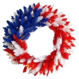 24 in. Patriotic Red, White and Blue Americana Wreath with 35 Warm LED Lights