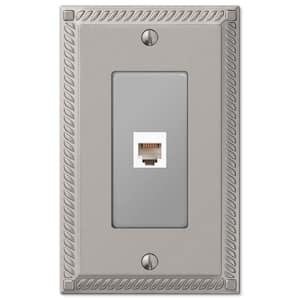 Georgian 1 Gang Phone Metal Wall Plate - Satin Nickel