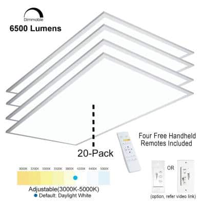 2 ft.x4 ft. 6500Lumen600W EquivalentWhiteDimmable Color Changing CCT Integrated LED Flat Panel Light Troffer(20-Pack)
