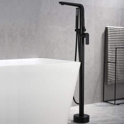 Single-Handle Freestanding Tub Faucet with Shower and Aerator in Matte Black