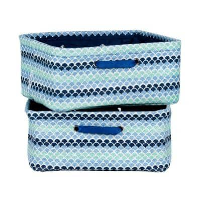 12 in. x 7 in. Storit Small Blue Polypropylene Nightstand Basket with Oval Pattern (2-Pack)