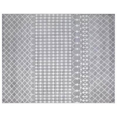 Montvale Collection Moroccan Trellis Gray 7 ft. 8 in. x 9 ft. 8 in. Area Rug