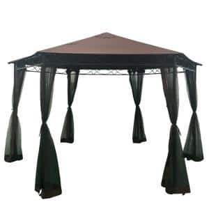 Duke 12.4 ft. x 12.4 ft. Brown Canopy Gazebo