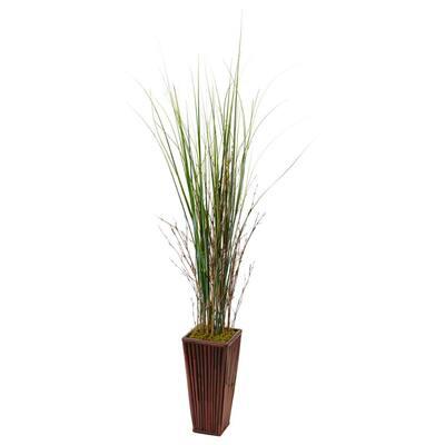 Indoor Bamboo Artificial Grass in Bamboo Planter