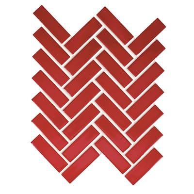 Restore Red 9 in. x 12 in. Glazed Ceramic Herringbone Mosaic Tile (0.6 sq. ft /each)