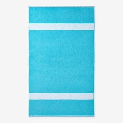 Wide Stripe Aqua Cotton Terry Single Beach Towel