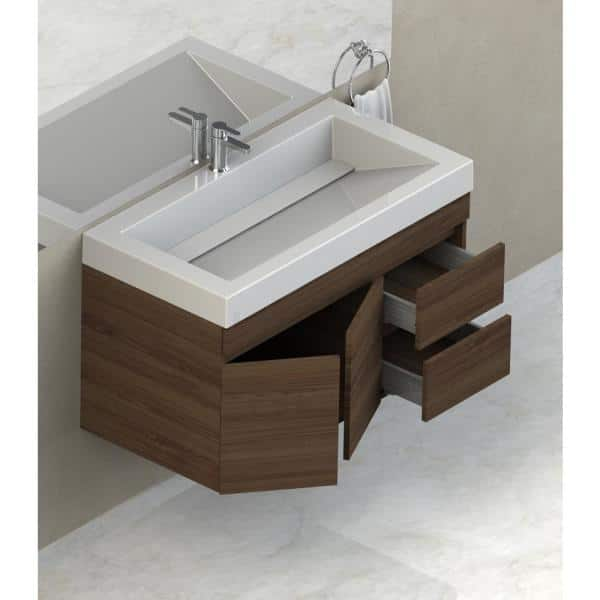 Lift Bridge Kitchen Bath Viteli Genova 37 In W X 19 In D Vanity In Walnut With Cultured Marble Vanity Top In White With White Basin 37vgenwal The Home Depot