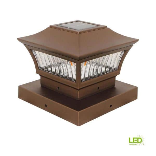 x 6 in Deck Impressions Solar Powered Bronze Post Cap Light with 6 in Adapter