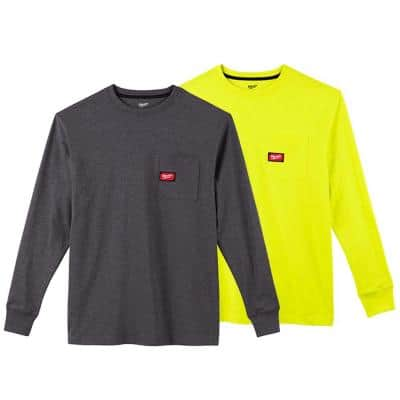 Men's Small Gray and High Visibility Heavy-Duty Cotton/Polyester Long-Sleeve Pocket T-Shirt (2-Pack)