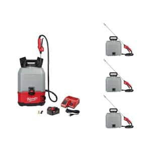 M18 18-Volt 4 Gal. Lithium-Ion Cordless Switch Tank Backpack Concrete Sprayer Kit with Battery and (4)Tank Assemblies