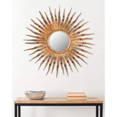 Sun 37 in. x 37 in. Iron and Glass Framed Mirror